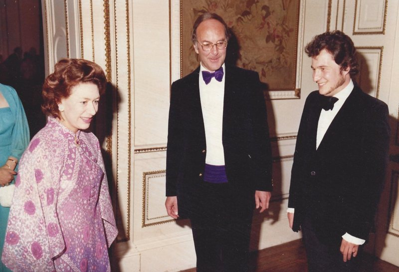 With Princess Margaret, Chancellor of Keele University. The concert in her honour included Lambert's Concerto for piano and nine instruments played by Dickinson with Philip Jones (right) conducting, 7 May 1981